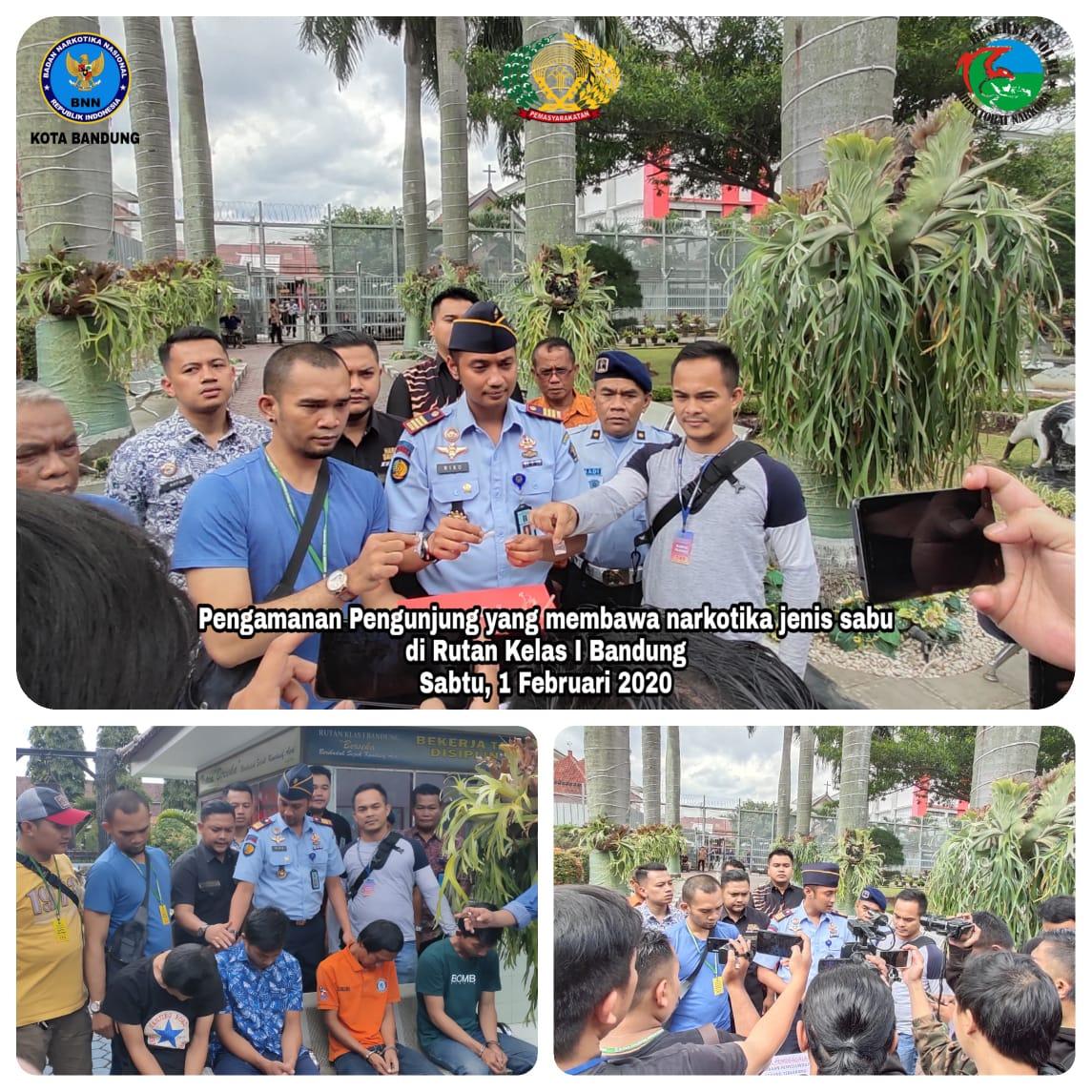 Pengamanan pengunjung Rutan Kelas I oleh Tim Berantas BNN Kota Bandung