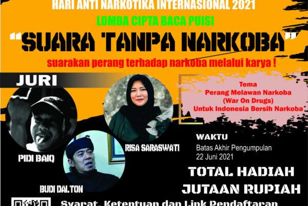 """Lomba Cipta Baca Puisi """"SUARA TANPA NARKOBA"""" dalam rangka HANI 2021"""